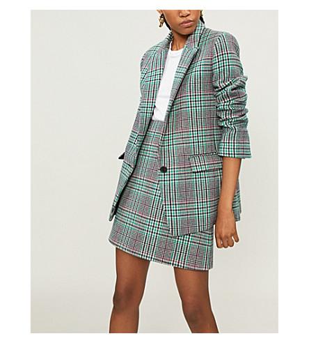 SANDRO Tartan check wool-blend jacket (Fuchsia+++green