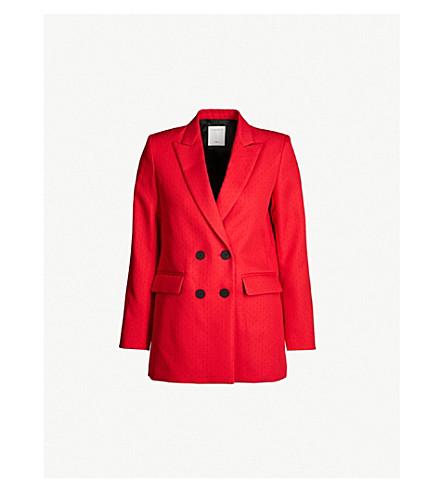 SANDRO 比利双排扣编织的夹克 (胭脂