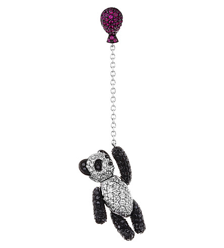 QEELIN Bobo diamond panda drop earring (White gold