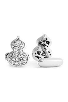 QEELIN Petite Wulu 18ct white gold diamond cufflinks