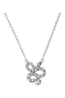 QEELIN Petite Snake 18ct white gold diamond pendant necklace