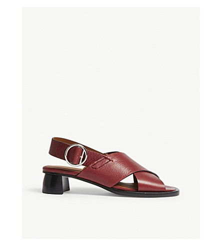 JOSEPH Cross leather heeled sandals (Burgundy