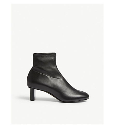 JOSEPH Zipped leather ankle boot (Black