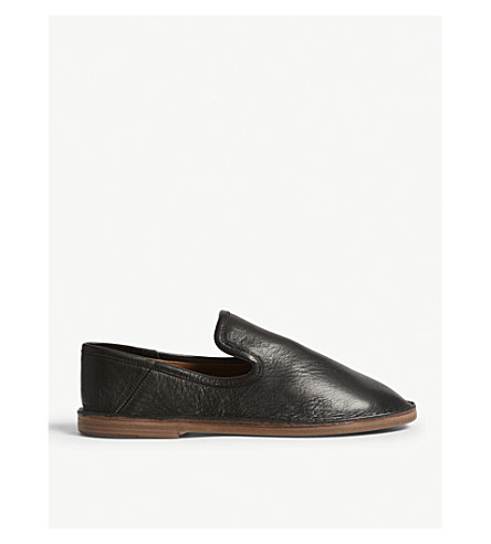 JOSEPH Leather slip on flats (Black