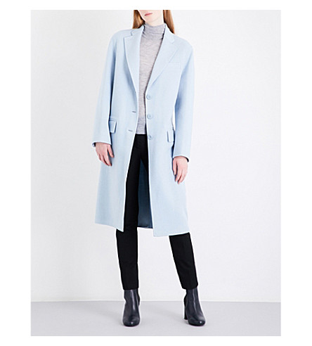 JOSEPH Simo wool and cashmere-blend coat (Powder+blue
