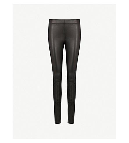 JOSEPH Panelled stretch-leather pants (Black