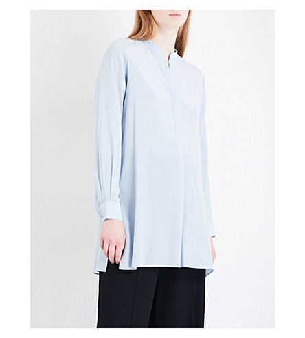 JOSEPH Lara silk-crepe de chine blouse (Powder+blue