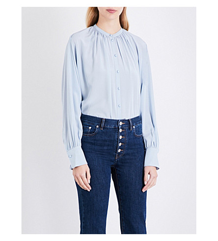 JOSEPH Everett silk-crepe de chine blouse (Powder+blue