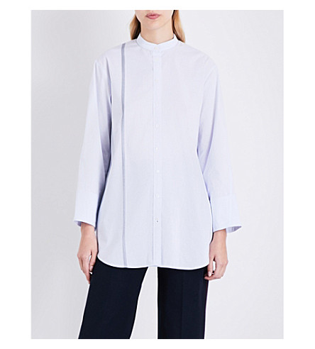 JOSEPH Lenno selvedge stripe cotton blouse (Blue/navy