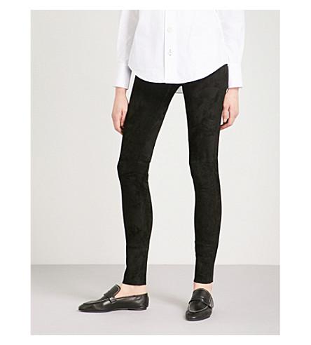JOSEPH Slim-fit skinny suede leggings (Black