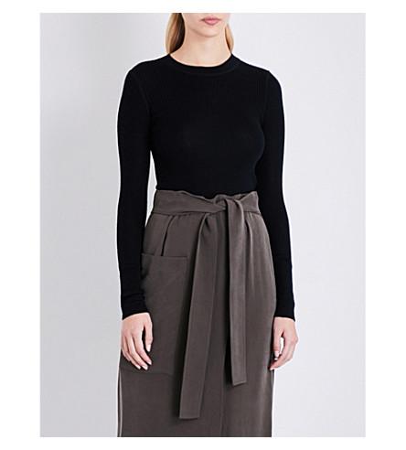 JOSEPH 罗纹针织羊毛丝和羊绒混纺毛衣 (黑色