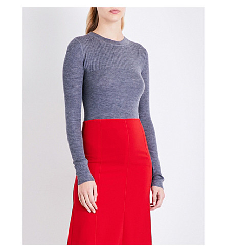JOSEPH Ribbed-knit wool silk and cashmere-blend jumper (Graphite
