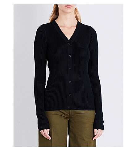 JOSEPH Ribbed-knit wool silk and cashmere-blend cardigan (Black