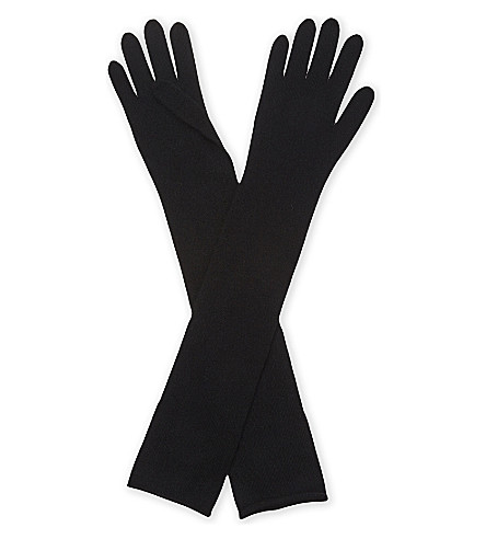 JOSEPH Cashmere long gloves (Black