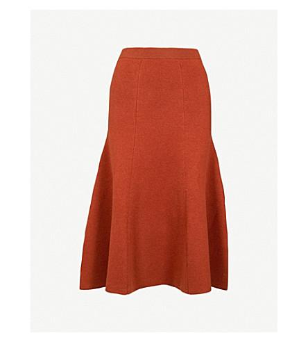 JOSEPH Flared-hem wool-blend skirt (Rust