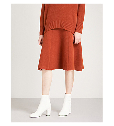 JOSEPH Flared-hem wool-blend skirt (Rust
