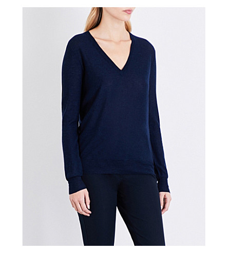 JOSEPH Cashair V-neck cashmere jumper (Navy
