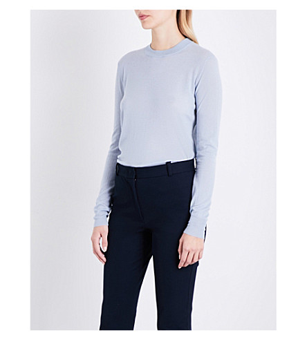 JOSEPH Cashair round-neck cashmere jumper (Powder+blue
