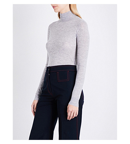 JOSEPH Cashair turtleneck cashmere jumper (Concrete