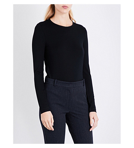 JOSEPH Round neck stretch-jersey top (Black