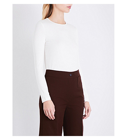 JOSEPH Round neck stretch-jersey top (Chalk