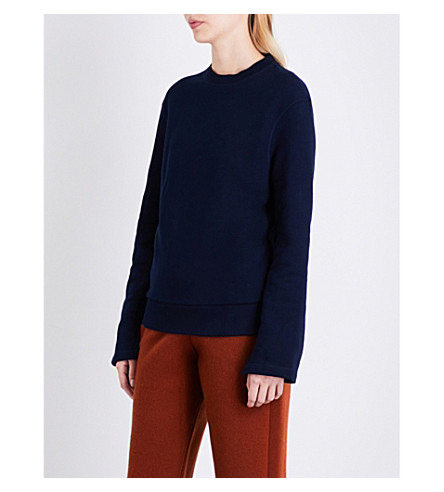 JOSEPH Loop Back Knot cotton-jersey sweatshirt (Marine