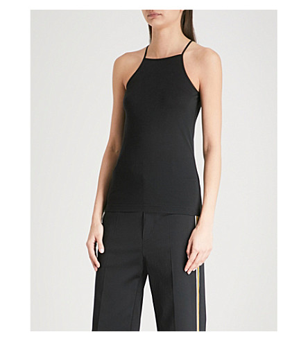JOSEPH Racer-back silk top (Black
