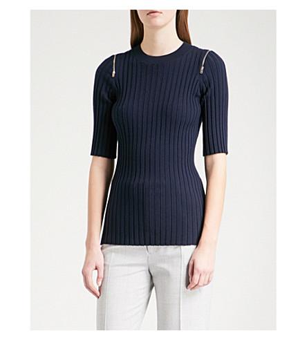 JOSEPH Zipped-detail wool-blend jumper (Navy