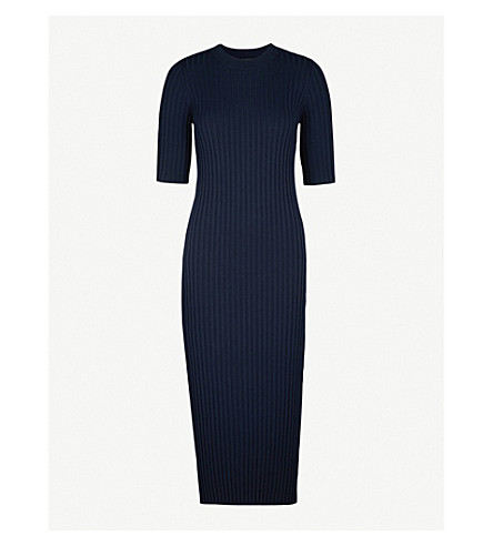 JOSEPH Zip-detail wool-blend dress (Navy