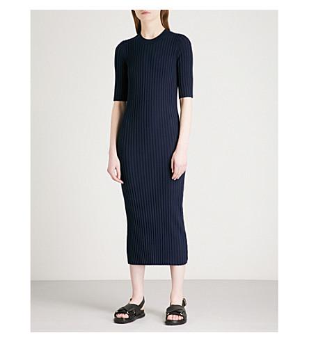 JOSEPH Zip-detail wool-blend dress (Navy