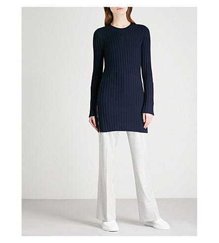 JOSEPH Zipped-detail wool-blend dress (Navy