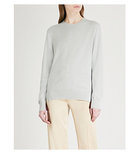 JOSEPH Contrast-panel cashmere jumper (Watergreen