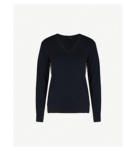 JOSEPH Ribbed-detail cashmere jumper (Navy