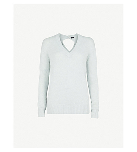 JOSEPH Open-back cashmere sweater (Watergreen