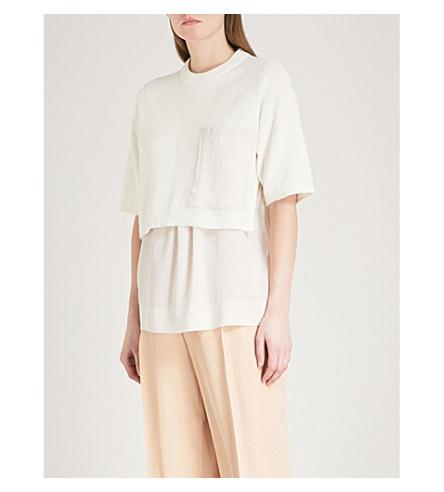 JOSEPH Overlay-detail knitted and silk jumper (Cream