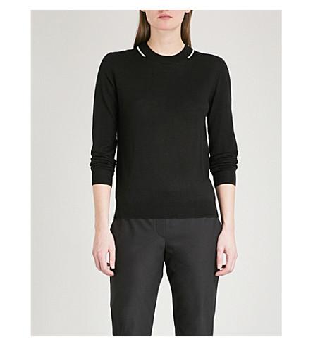 JOSEPH Stripe-detail wool jumper (Black