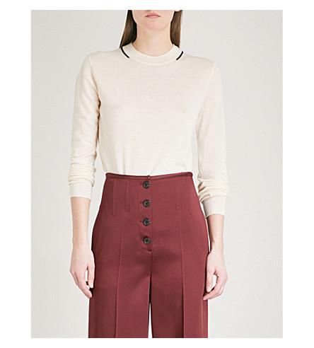 JOSEPH Stripe-detail wool jumper (Ecru