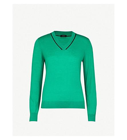 JOSEPH Stripe-detail wool jumper (Emerald