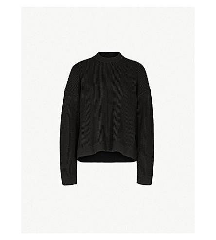 JOSEPH Ribbed waffle-knit wool-blend jumper (Black