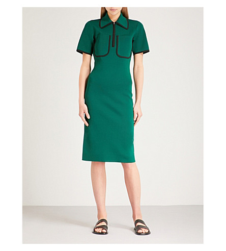 JOSEPH Colour-blocked knitted midi dress (Emerald