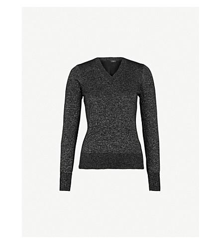 JOSEPH V-neck metallic-knit jumper (Black