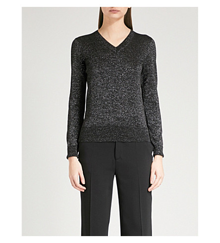JOSEPH V-neck metallic-knit jumper (Black