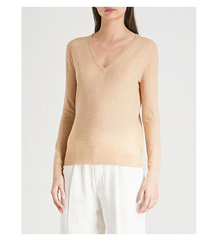 JOSEPH Cashair V-neck cashmere sweater (Camel