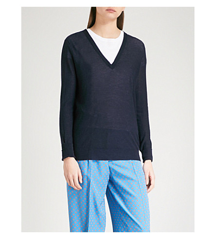 JOSEPH V-neck knitted jumper (Navy
