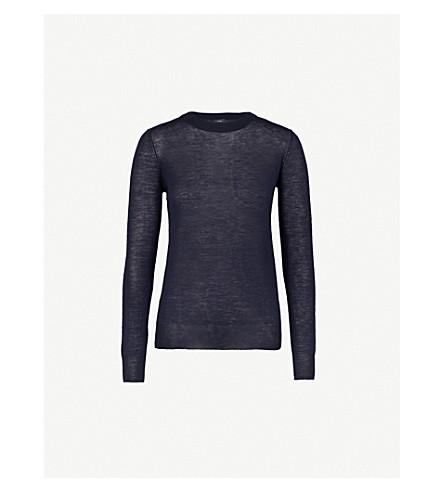 JOSEPH Semi-sheer cashmere jumper (Navy