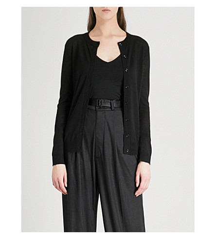 JOSEPH Cashair round-neck cashmere cardigan (Black