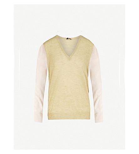 JOSEPH Cashair V-neck cashmere jumper (Pea