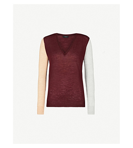 JOSEPH Cashair contrast-sleeve cashmere jumper (Morgon