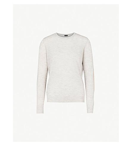 JOSEPH Cashair round-neck cashmere top (Grey+chine