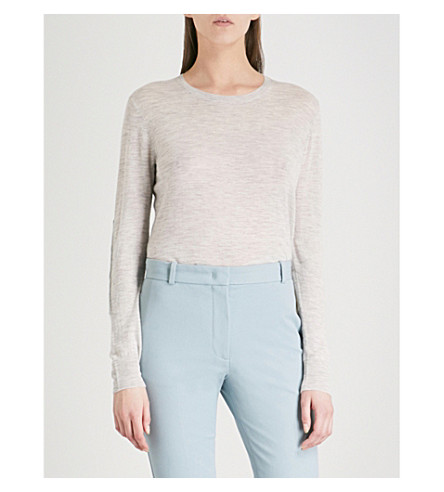 JOSEPH Cashair round-neck cashmere top (Grey+chine